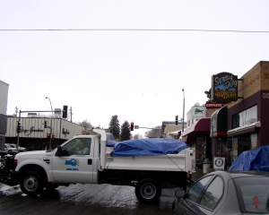 City of Elko truck on its way to the Elko Convention Center
